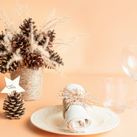 Dining set: Bouquet, 6 jute napkin rings,6 pine cone place cards