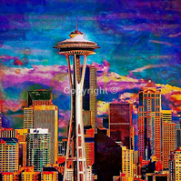 Space Needle Seattle USA space needle Seattle USA America - Print Run of 100
