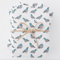PIGEON gift wrap sheet and tag, bird wrapping paper