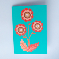 FLOWERS CARD - Mother's Day, Easter, summer, blank, mid century