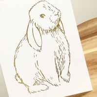 Gold Rabbit Card - Easter bunny foil rabbit illustration greetings card blank