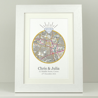Personalised OS map print - Engagement location present - Bespoke gift VA058