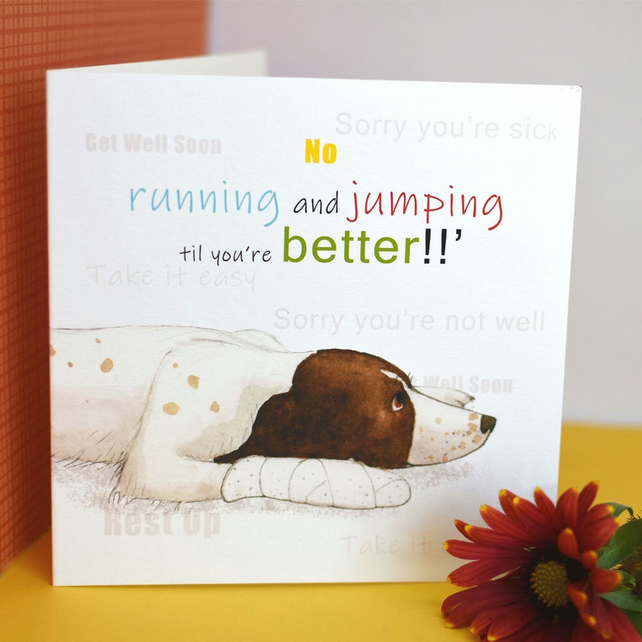 Dog Greetings Card, Get Well Soon, Rest Up, Sorry Your Not Well, Springer Spanie