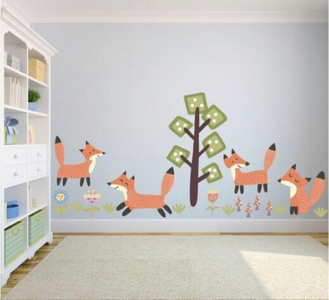 Fox theme kids wall decals - fox kids wall stickers - kids wall art - fox theme