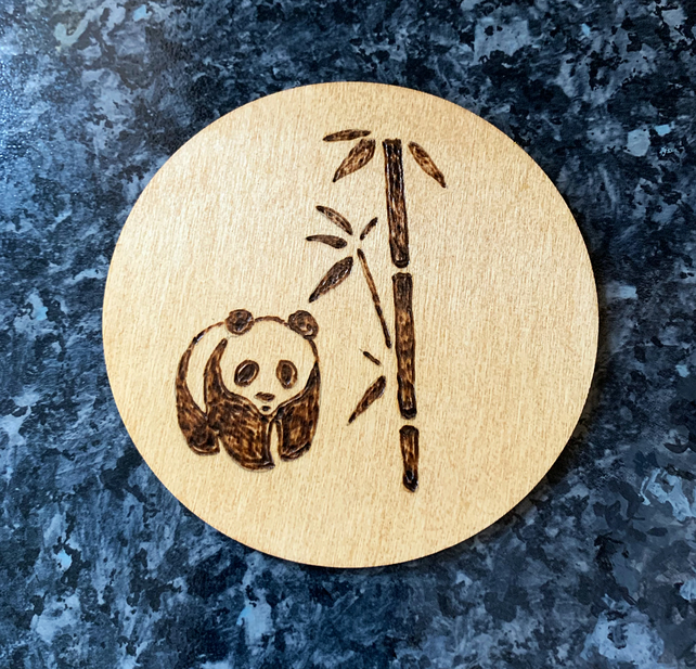 Giant Panda 10cm diameter wooden fridge magnet, wood-burned, hand-made.