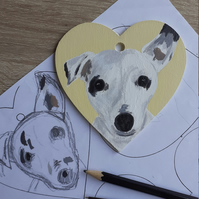 Hand painted pet portrait on a bespoke wooden heart. Please message before order