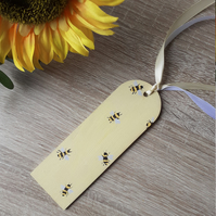 Hand painted bees on a yellow wooden bookmark with twine, bee gift hamper idea