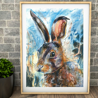 Hare Print-fine art print-giclee print of 'Hare in Blue' original painting