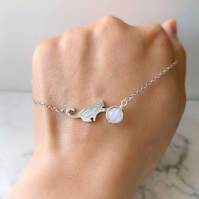 Moonstone Cute Cat Bracelet, Gemstone Cat Crystal Bracelet, Cat Lovers Gift
