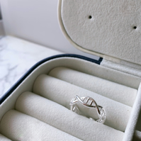 DNA Double Helix Silver Ring Sterling Silver DNA Ring Silver Dainty Open Ring