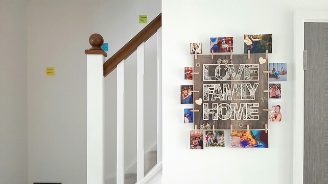 Love Family Home Personalized Wall Art Custom Photo Print Wooden Minimalist