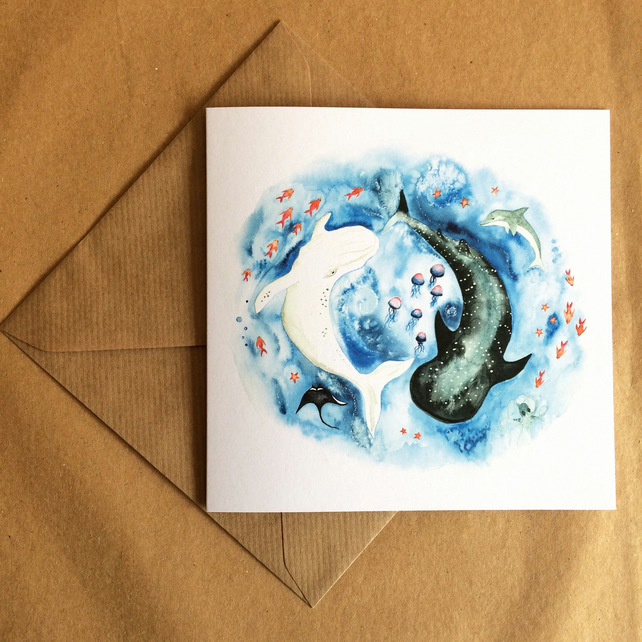 Yin Yang Whale Card - Watercolour illustration