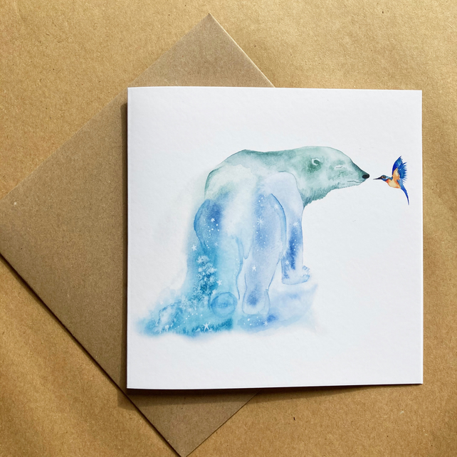 Polar Bear and Kingfisher Greeting Card - Watercolour Illustration