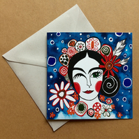 Frida Kahlo Inspired Greeting Card