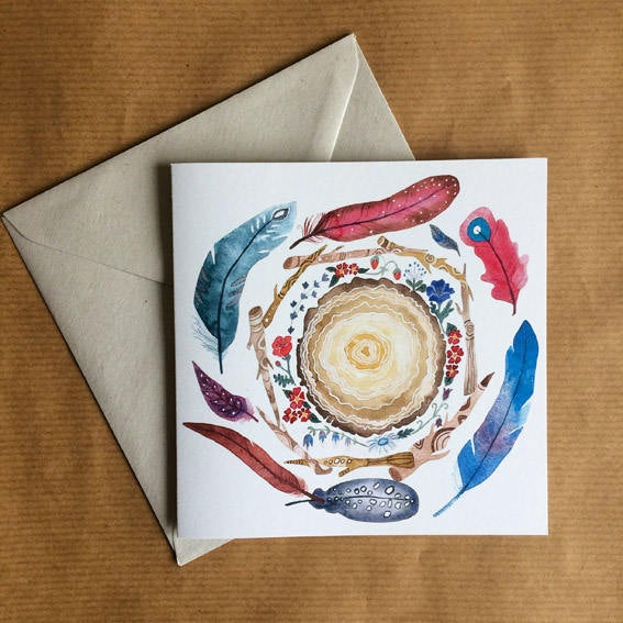 Greeting Card - Woodland Spiral Watercolour illustration