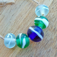 Seaglass Ocean Lampwork Beads White Organic Decoration Beach and Seaside Beads