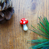Handmade Mushroom Toadstool Glass Lampwork Beads Red Amanita Beads