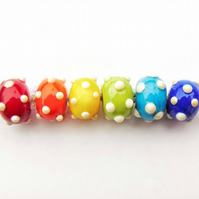 Handmade Rainbow Bumpies Glass Lampwork Dotty Beads Funky Bumpy Beads Hippie