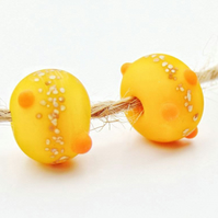 2PCS Handmade Yellow Funky Glass Lampwork Beads with Frosted Organic Design