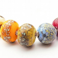 Rustic Handmade Glass Lampwork Beads Speckled Etched Glass Beads for Jewellery