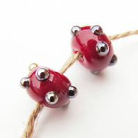 Red Handmade Metallic Glass Lampwork Bead Pair Jewellery Supplies Unique Beads