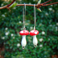 Handmade Glass Toadstool Lampwork Earrings with Silver Wire Amanita Jewellery