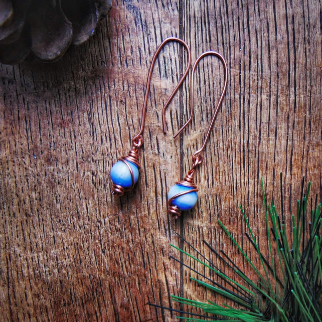 Handmade Copper Wire Wrapped Lampwork Glass Bead Earrings Organic Artisan Design
