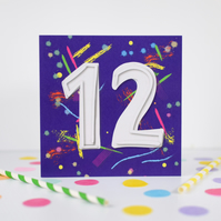 12th Birthday card. 12th Birthday. Age card. Birthday card.