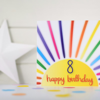 Happy birthday 8. 8th birthday card. Happy 8th Birthday. Kids birthday card.