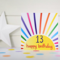Happy birthday 13. 13th birthday card. Happy 13th Birthday. Kids birthday card.