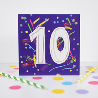 10th Birthday card. 10th Birthday. Age card. Birthday card.