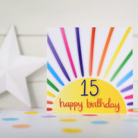 Happy birthday 15. 15th birthday card. Happy 15th Birthday. Kids birthday card.
