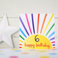 Happy birthday 6. 6th birthday card. Happy 6th Birthday. Kids birthday card.