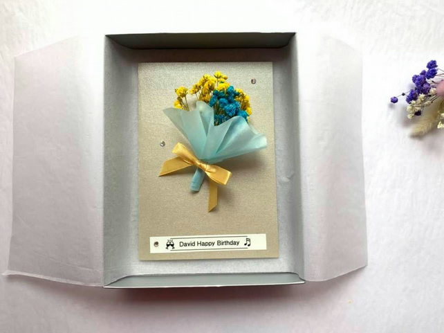 Personalised Handmade Birthday Card, Mini Bouquet Birthday Card with Box C422