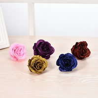 20 Pcs x 6cm Mixed Glitter Artificial Roses Flower Heads, Wedding Bouquet