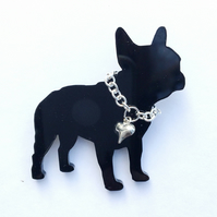 French Bulldog Brooch with Silver Heart and Chain Collar