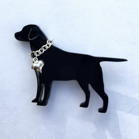 Labrador Dog Brooch With Silver Heart & Chain Collar