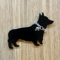 Welsh Pembroke Corgi Brooch with Silver Heart and Chain Collar
