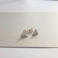 Textured Triangle studs Sterling Silver - triangular stud earrings - Handmade