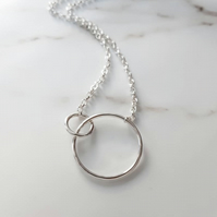 Sterling Silver interlocked rings - joined circles pendant - hammered silver