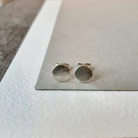 Textured Disk studs 7mm Sterling Silver - small flat circle round stud earrings