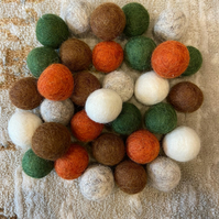 Woodland Forest Theme Mix, 2.5cm Nepalese wool felt ball pom poms for DIY craft