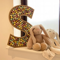 Wooden Fillable Letters Numbers with Customisable Felt Ball Pompom Mix