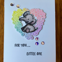Handmade NEW BABY Card Hand Painted, Embossed Elephant - For You Little One