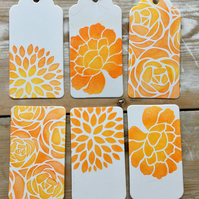 GIFT TAGS - Pack of 10 Handmade Gift Tags - Floral Design, Choice of Colours