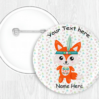 Kawaii Woodland Animal Themed Button Pin Badge Personalised 58mm Round