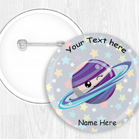 Kawaii Space Themed Button Pin Badge Personalised 58mm Round