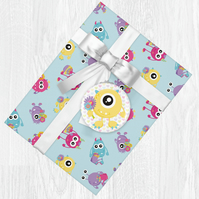 Kawaii Monster Themed Wrapping Paper Sheets with Gift Tags
