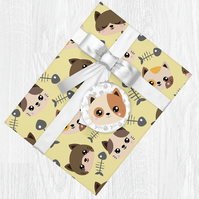Kawaii Cat Themed Wrapping Paper Sheets with Gift Tags