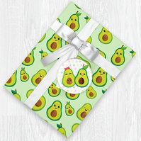 Kawaii Avocado Themed Wrapping Paper Sheets with Gift Tags